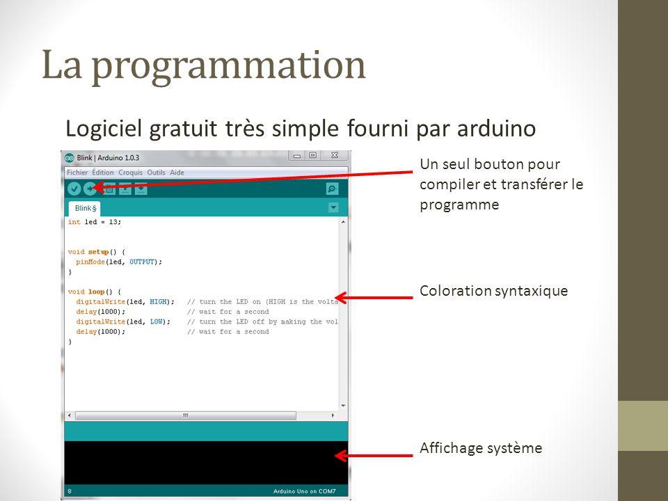 La programmation Logiciel gratuit très simple fourni par arduino