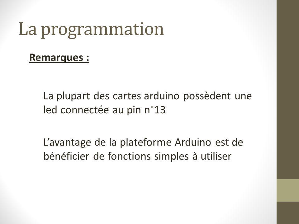 La programmation Remarques :
