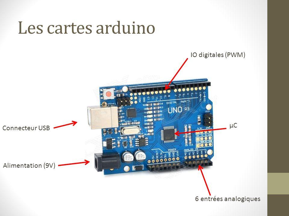 Les cartes arduino IO digitales (PWM) µC Connecteur USB