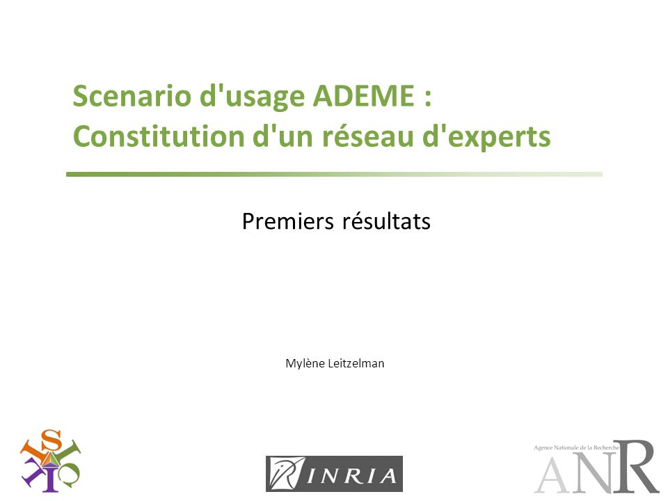 Scenario d usage ADEME : Constitution d un réseau d experts