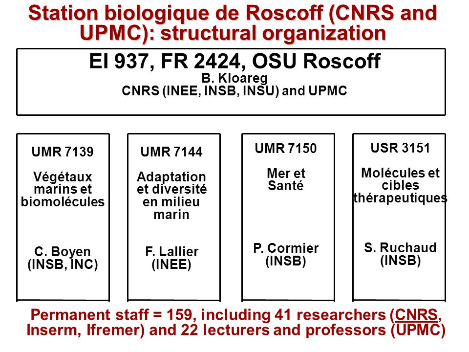 Station biologique de Roscoff (CNRS and UPMC): structural organization