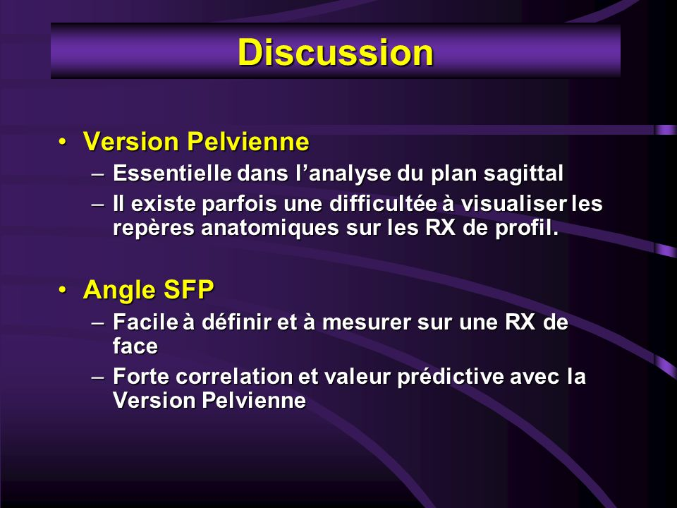 Discussion Version Pelvienne Angle SFP