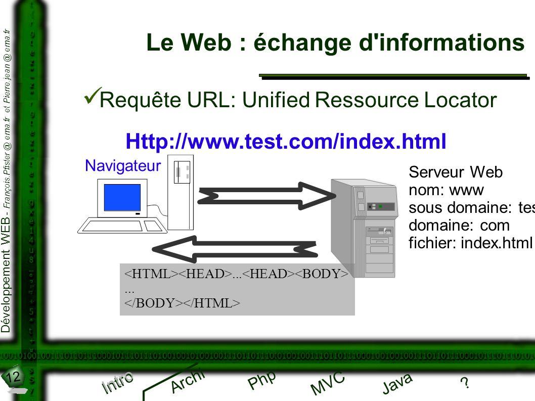 Le Web : échange d informations