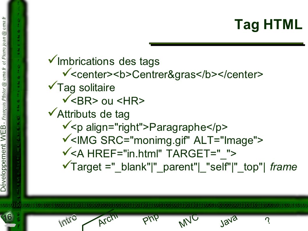 Tag HTML Imbrications des tags