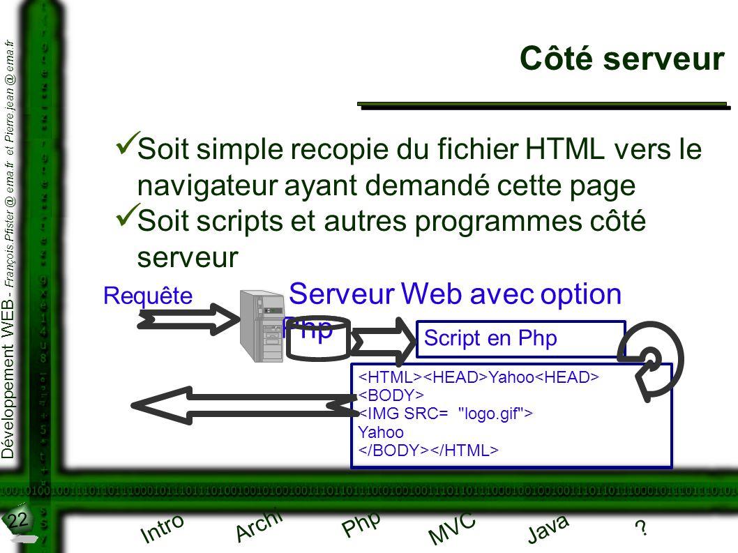 Côté serveur Soit simple recopie du fichier HTML vers le navigateur ayant demandé cette page. Soit scripts et autres programmes côté serveur.