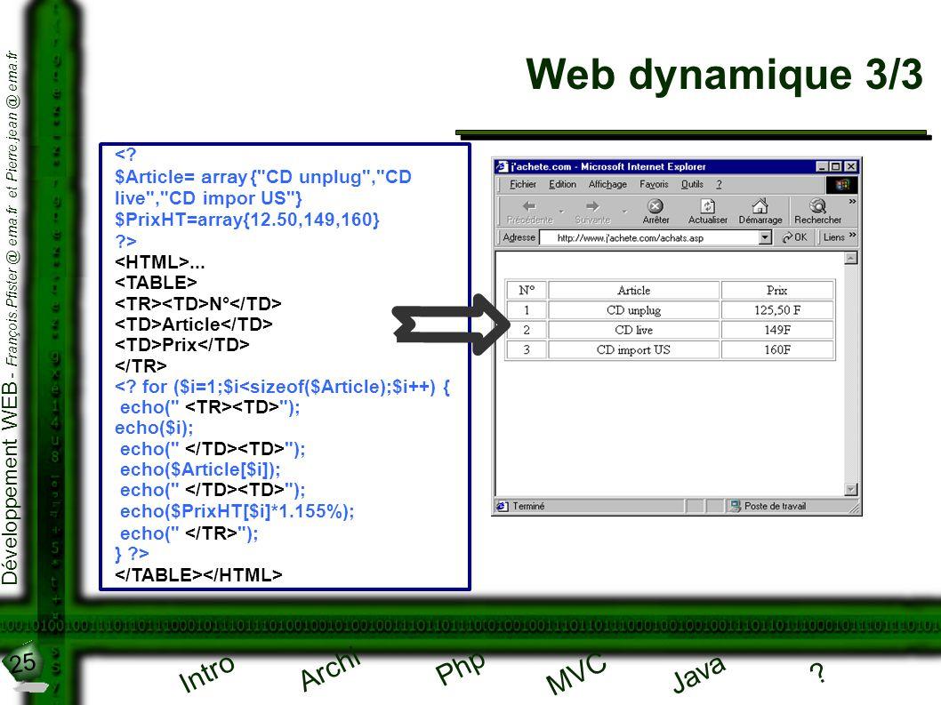Web dynamique 3/3 < $Article= array { CD unplug , CD live , CD impor US } $PrixHT=array{12.50,149,160}