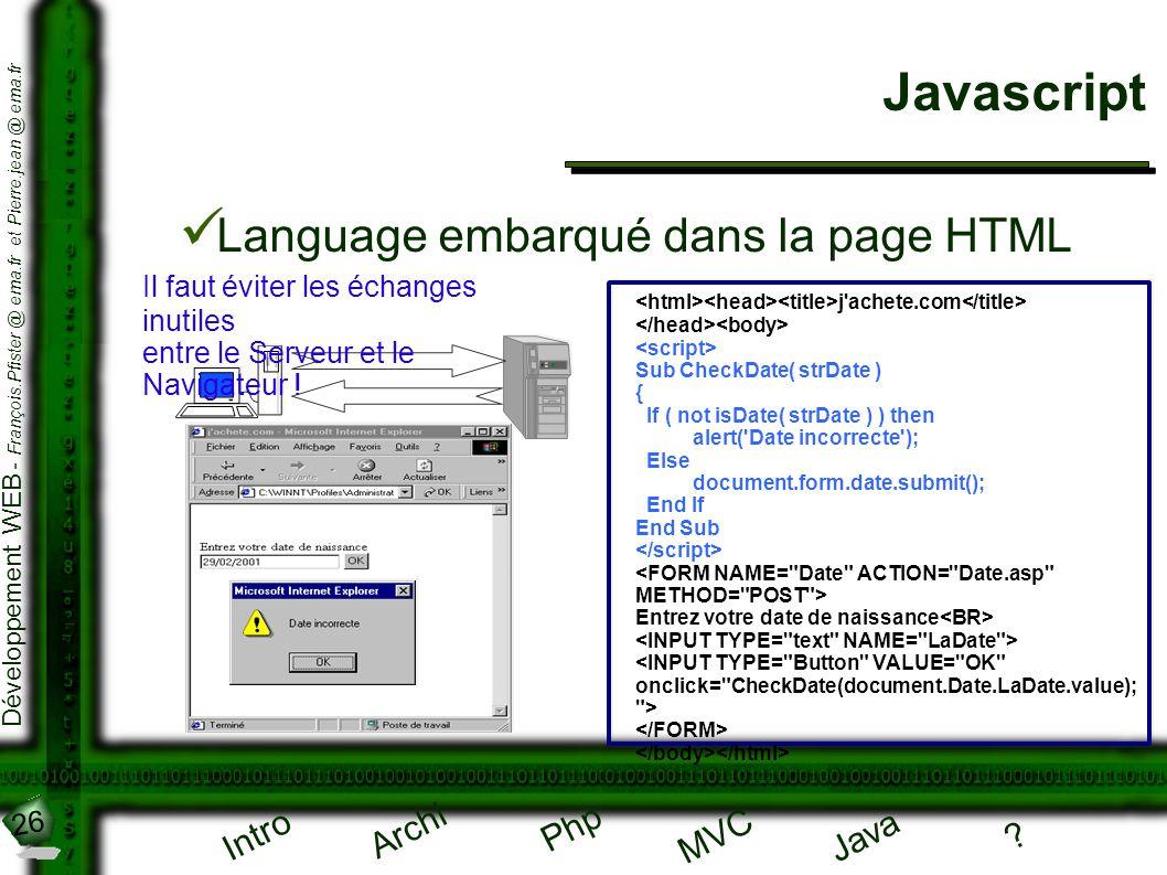 Javascript Language embarqué dans la page HTML