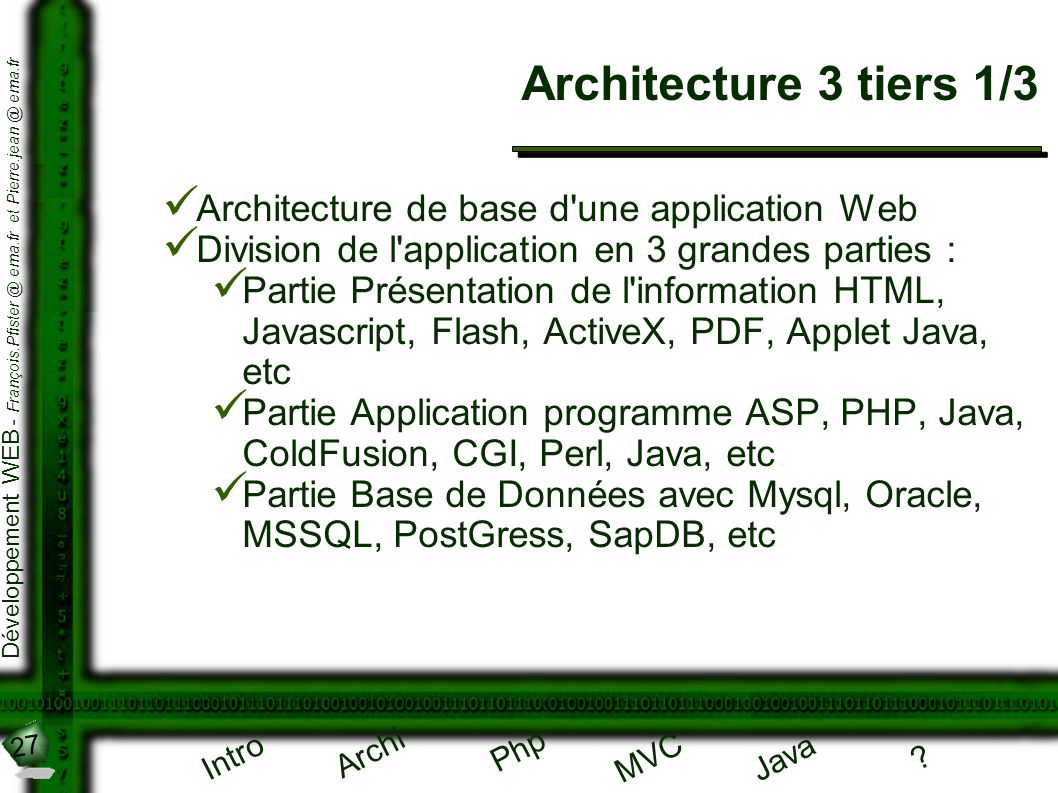 Architecture 3 tiers 1/3 Architecture de base d une application Web