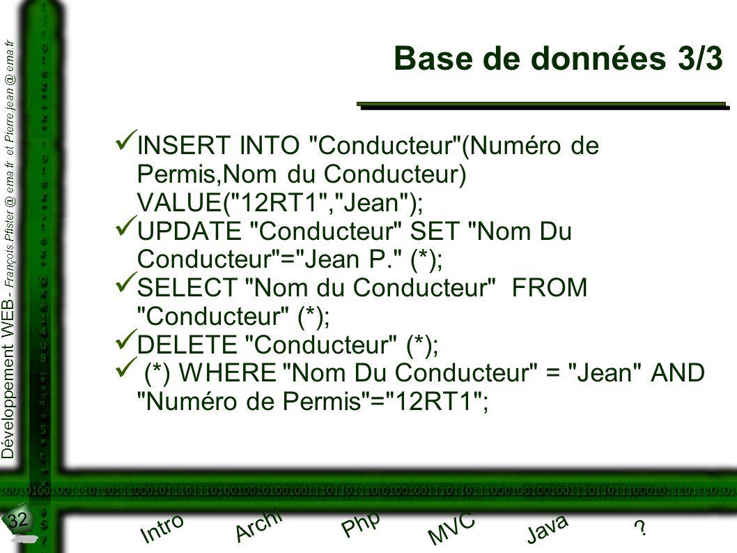 Base de données 3/3 INSERT INTO Conducteur (Numéro de Permis,Nom du Conducteur) VALUE( 12RT1 , Jean );