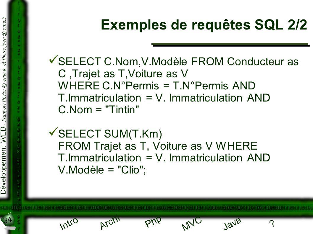 Exemples de requêtes SQL 2/2