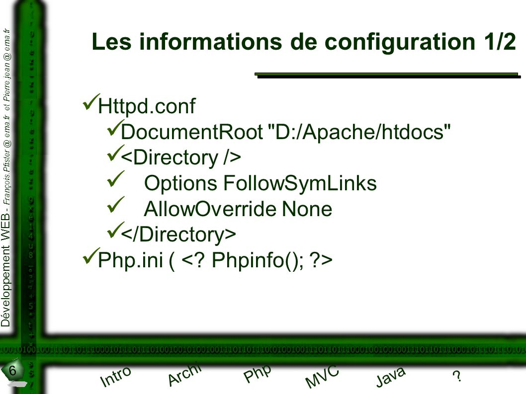 Les informations de configuration 1/2