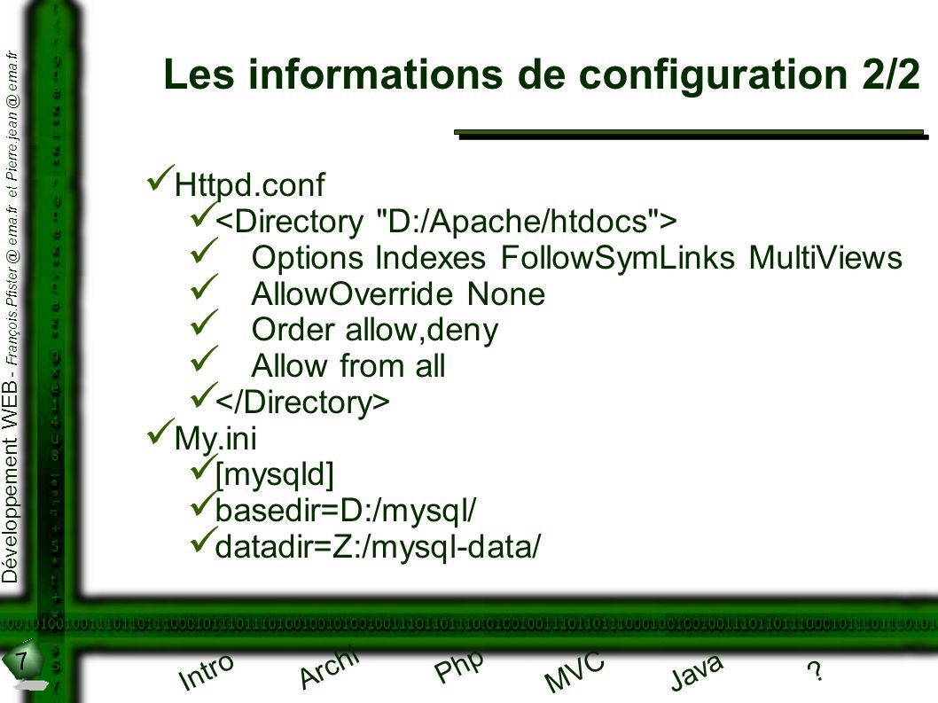Les informations de configuration 2/2