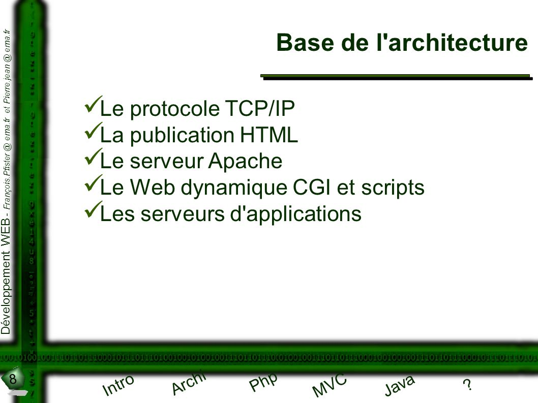 Base de l architecture Le protocole TCP/IP La publication HTML