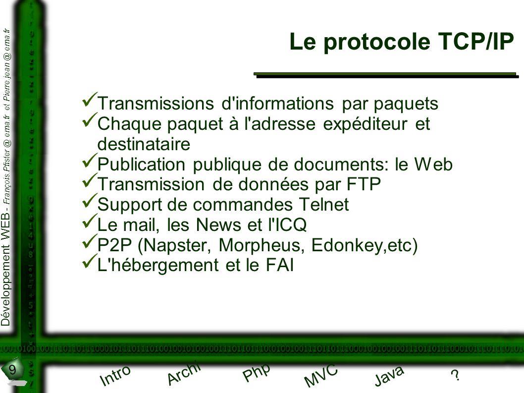 Le protocole TCP/IP Transmissions d informations par paquets