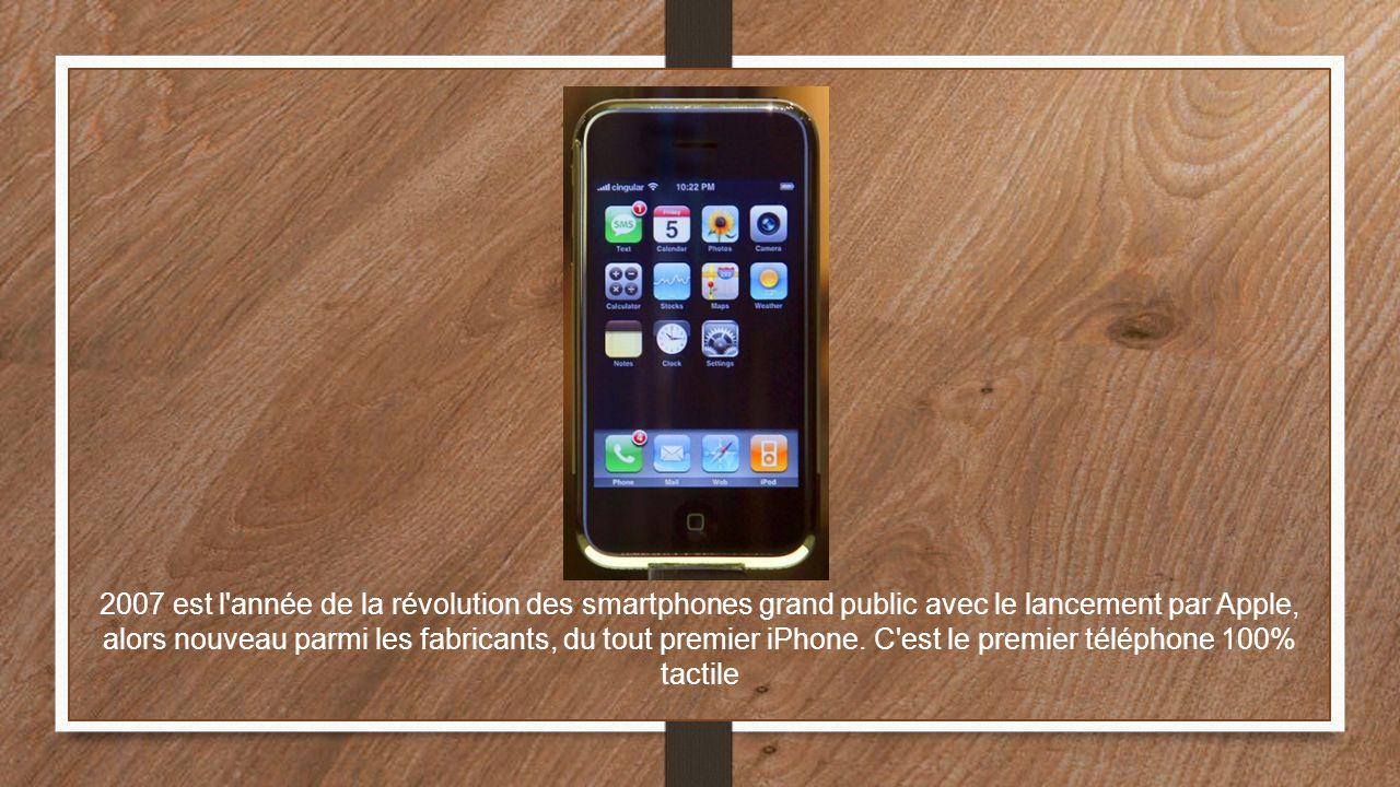 2007 est l année de la révolution des smartphones grand public avec le lancement par Apple, alors nouveau parmi les fabricants, du tout premier iPhone.