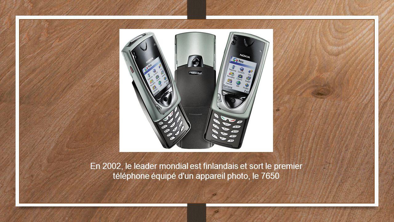 En 2002, le leader mondial est finlandais et sort le premier téléphone équipé d un appareil photo, le 7650