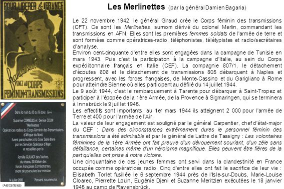 Les Merlinettes (par la général Damien Bagaria)