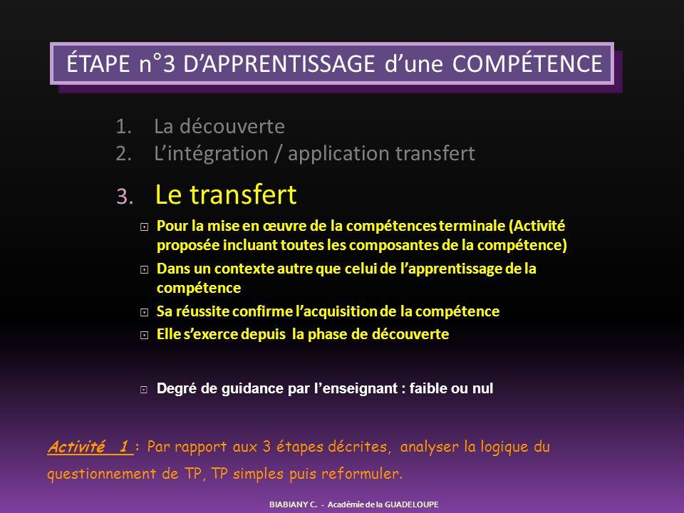 ÉTAPE n°3 D'APPRENTISSAGE d'une COMPÉTENCE