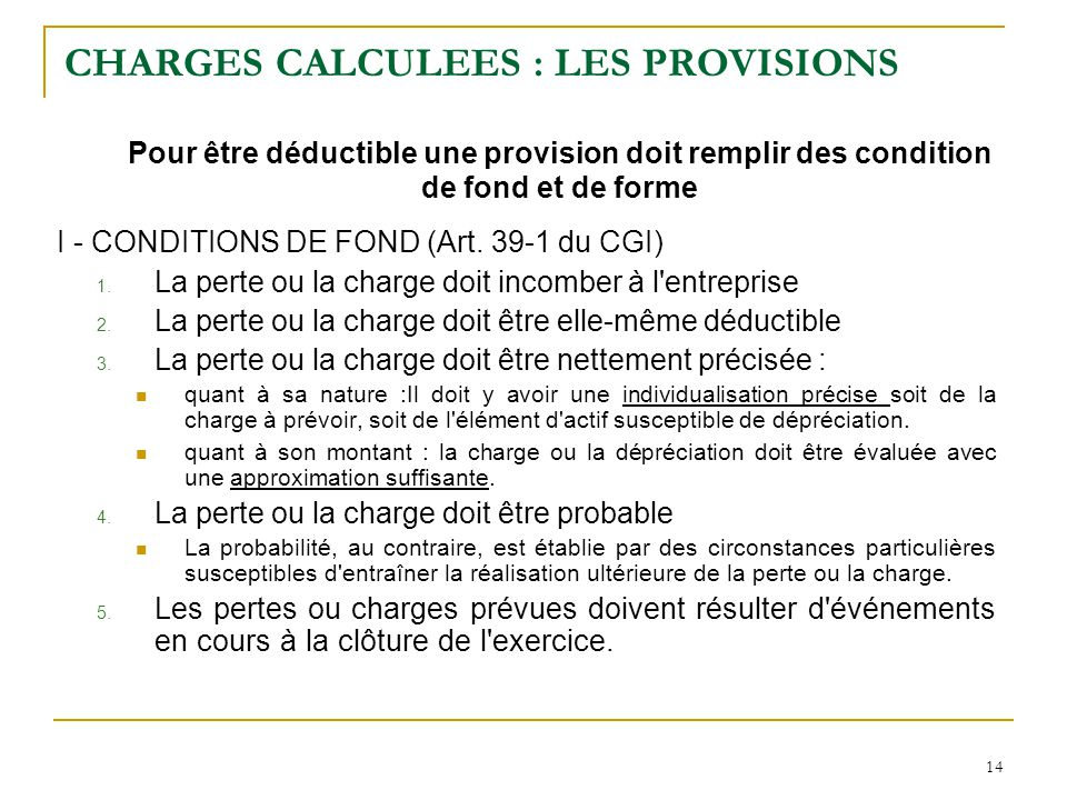 CHARGES CALCULEES : LES PROVISIONS