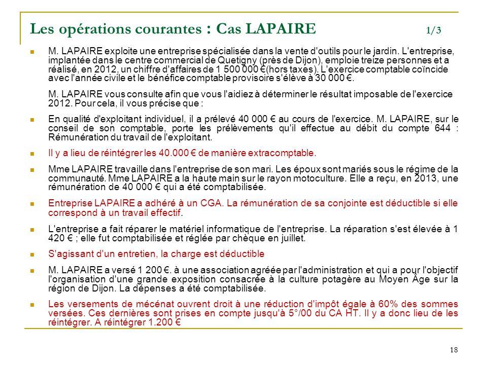 Les opérations courantes : Cas LAPAIRE 1/3