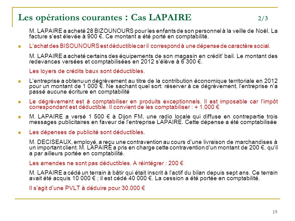 Les opérations courantes : Cas LAPAIRE 2/3