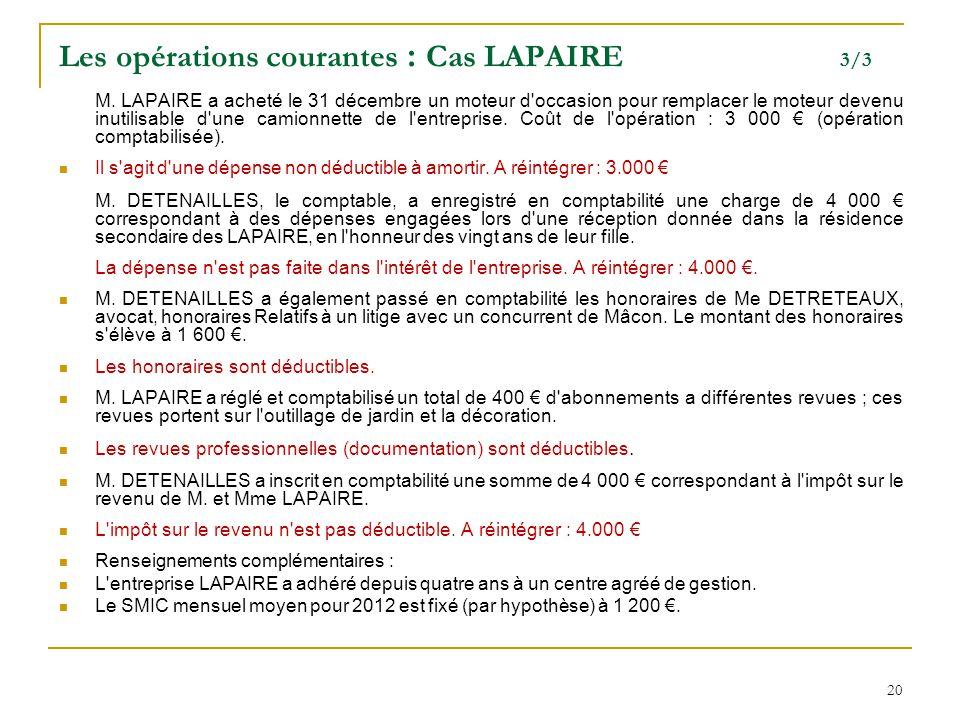 Les opérations courantes : Cas LAPAIRE 3/3