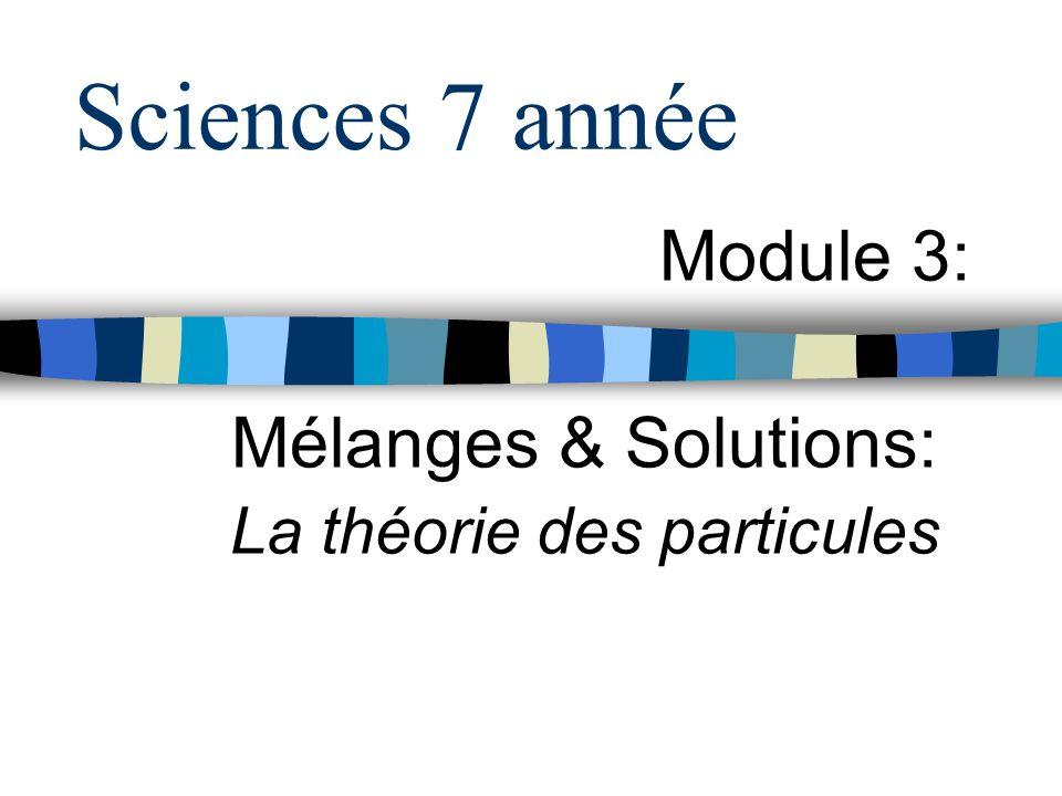 Module 3: Mélanges & Solutions: La théorie des particules