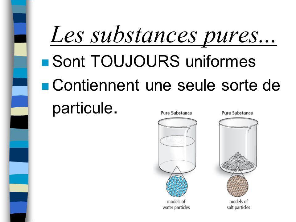 Les substances pures... Sont TOUJOURS uniformes