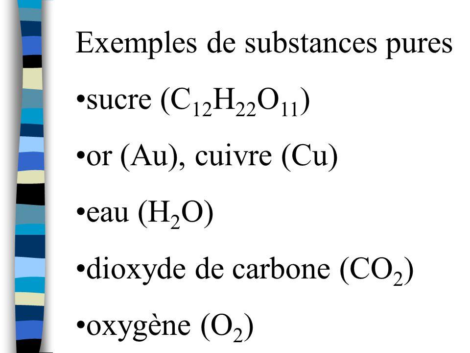 Exemples de substances pures