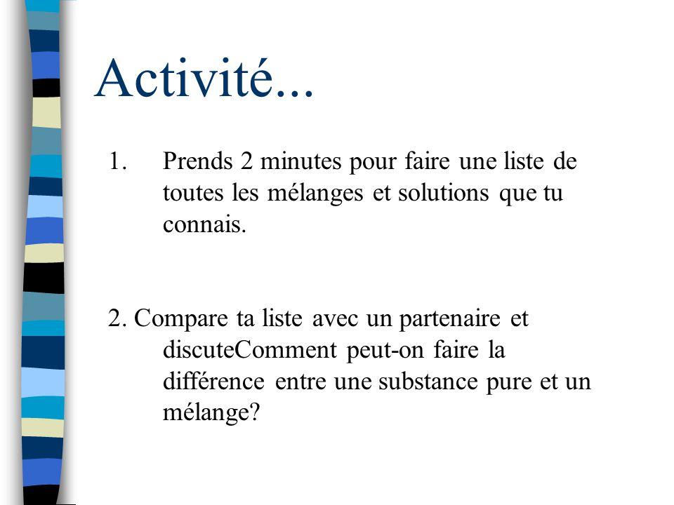 Activité... Prends 2 minutes pour faire une liste de toutes les mélanges et solutions que tu connais.