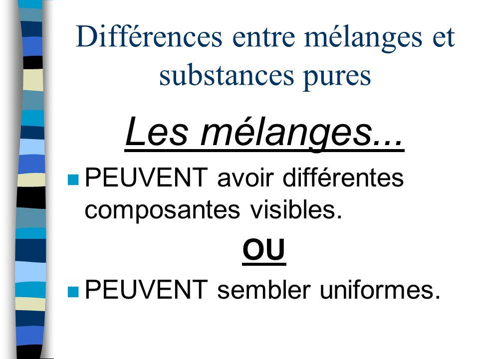 Différences entre mélanges et substances pures