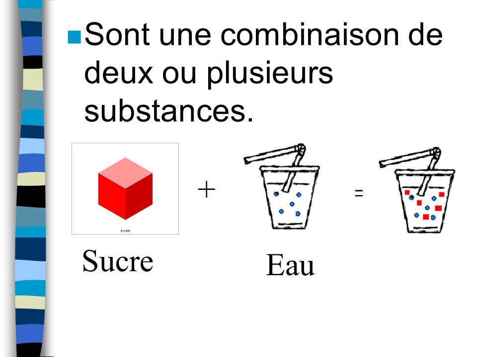 Sont une combinaison de deux ou plusieurs substances.
