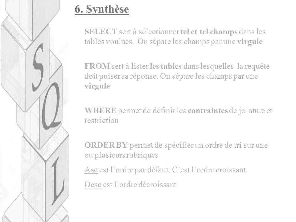 6. Synthèse SELECT sert à sélectionner tel et tel champs dans les tables voulues. On sépare les champs par une virgule.