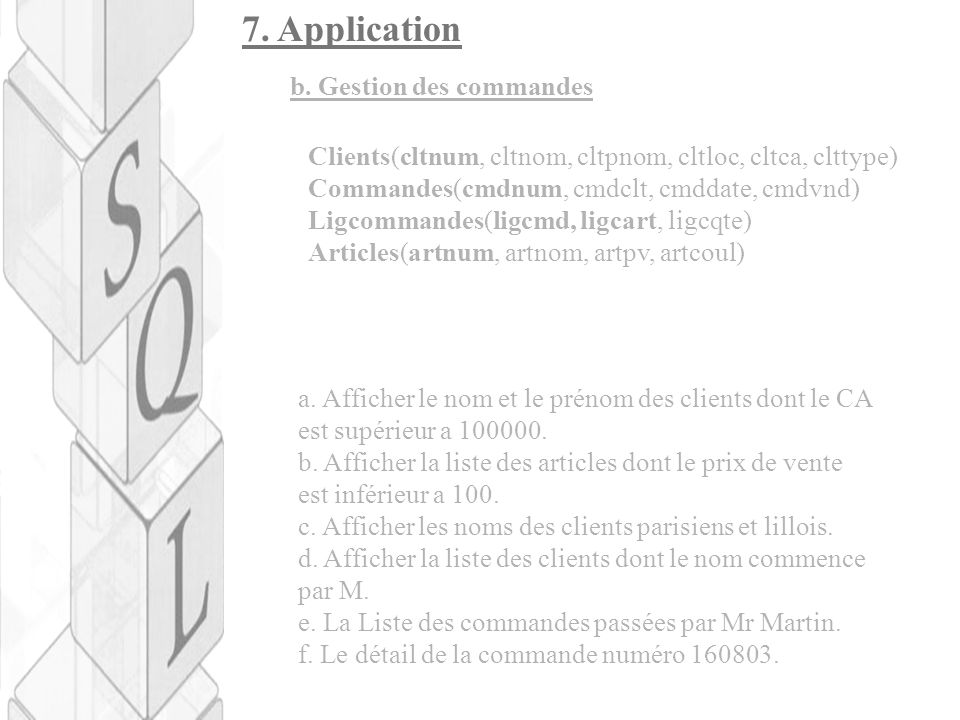 7. Application b. Gestion des commandes