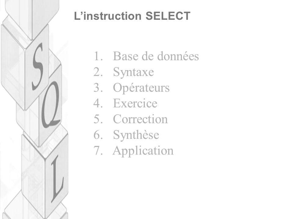 1. Base de données 2. Syntaxe 3. Opérateurs 4. Exercice 5. Correction