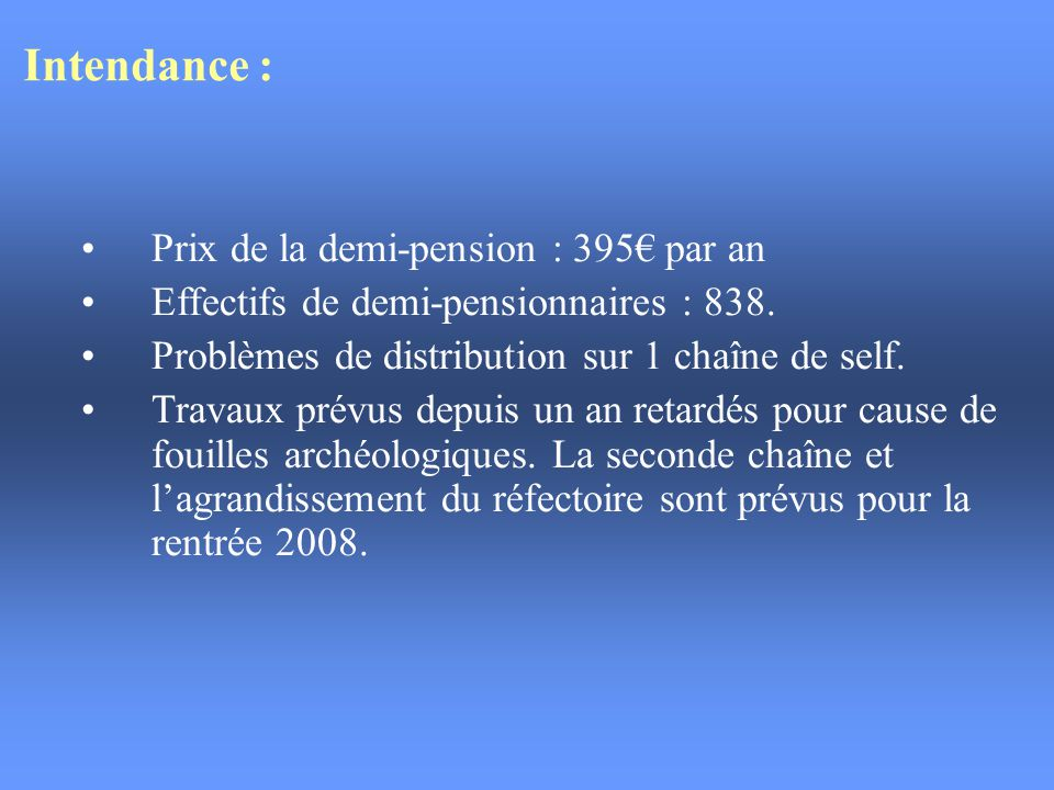 Intendance : Prix de la demi-pension : 395€ par an