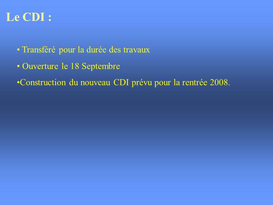 Le CDI : Transféré pour la durée des travaux Ouverture le 18 Septembre
