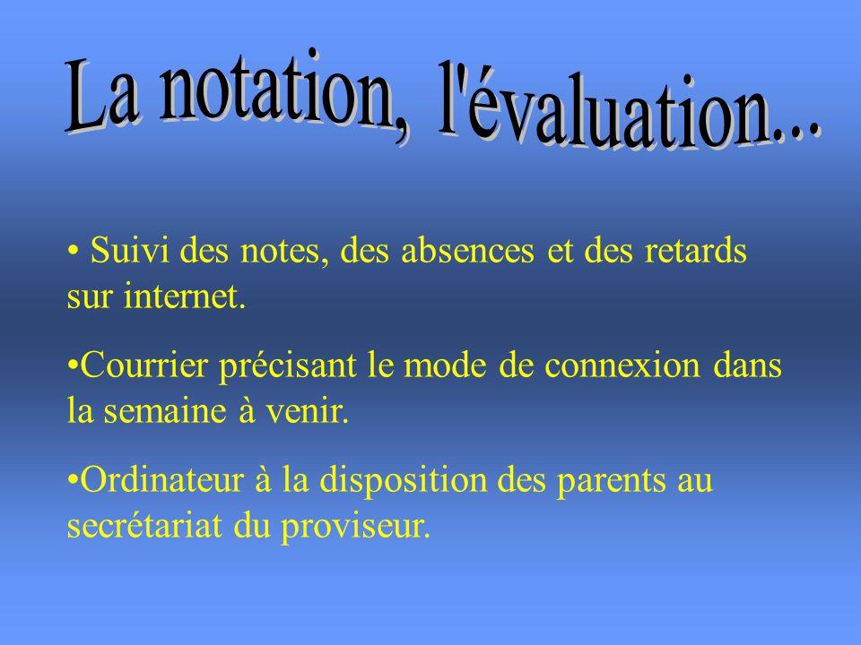 La notation, l évaluation...