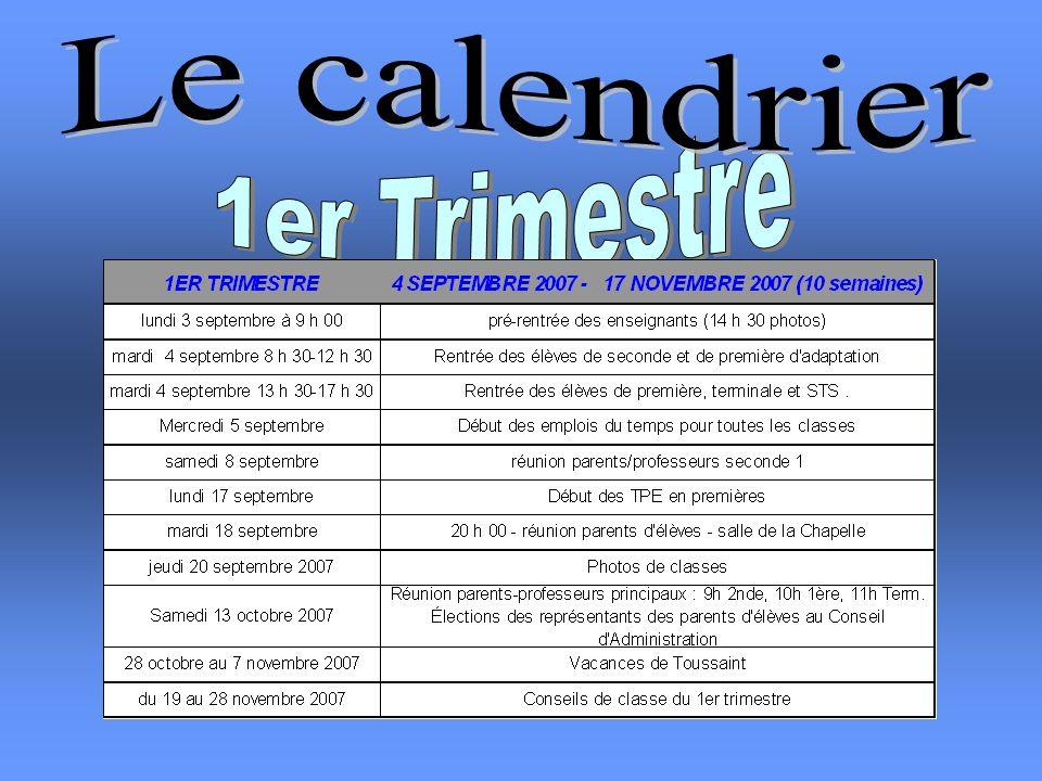Le calendrier 1er Trimestre