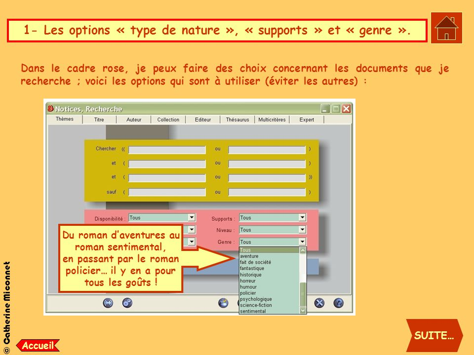 1- Les options « type de nature », « supports » et « genre ».