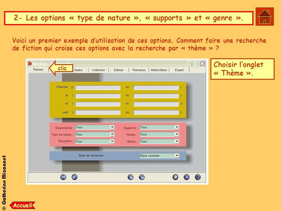 2- Les options « type de nature », « supports » et « genre ».