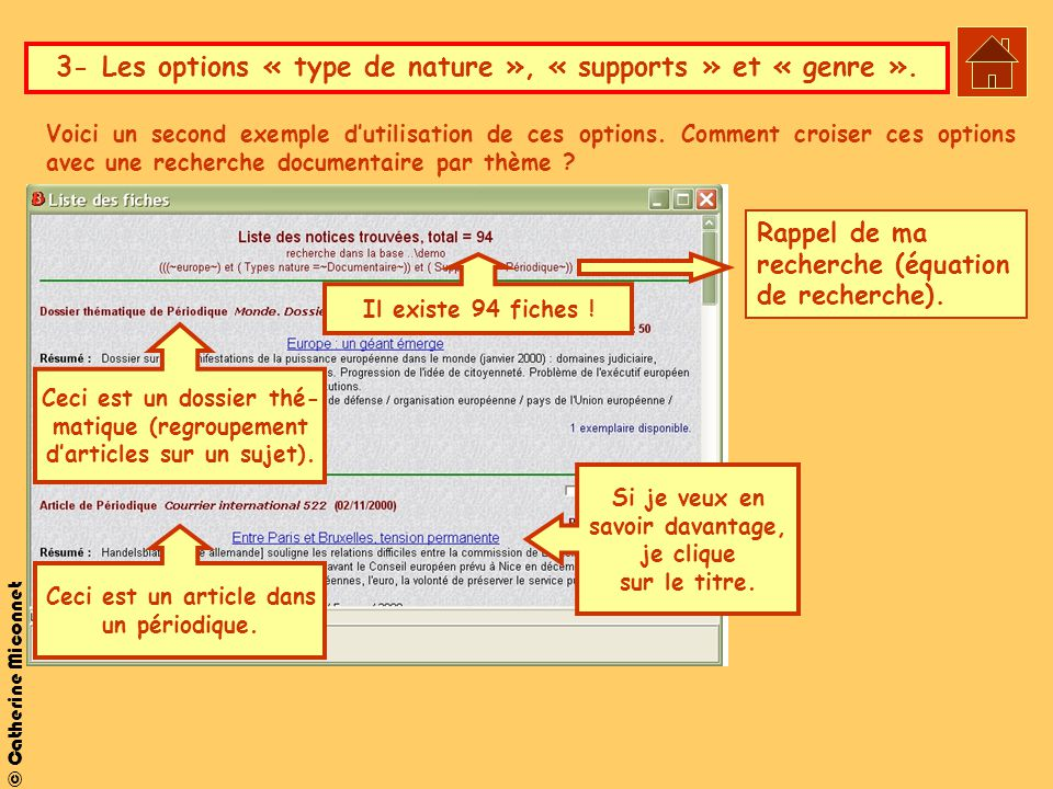 3- Les options « type de nature », « supports » et « genre ».