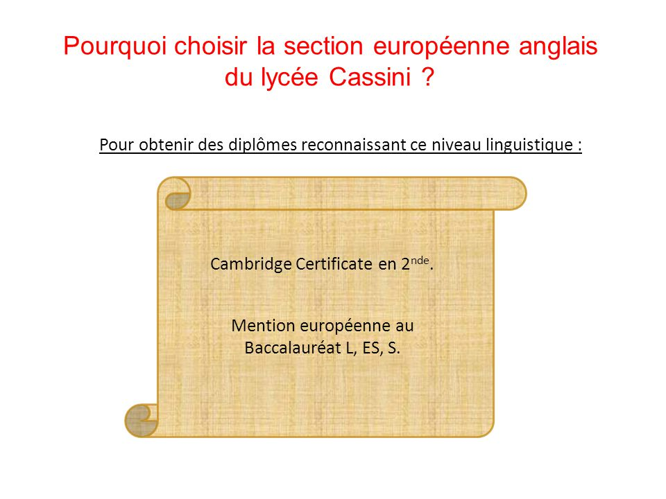Pourquoi choisir la section européenne anglais du lycée Cassini