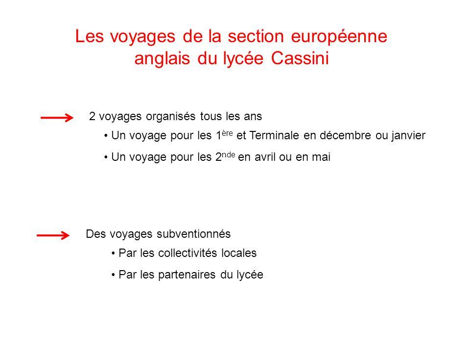 Les voyages de la section européenne anglais du lycée Cassini