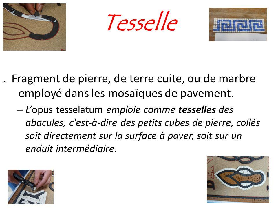 Tesselle . Fragment de pierre, de terre cuite, ou de marbre employé dans les mosaïques de pavement.