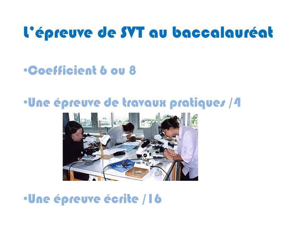 L'épreuve de SVT au baccalauréat
