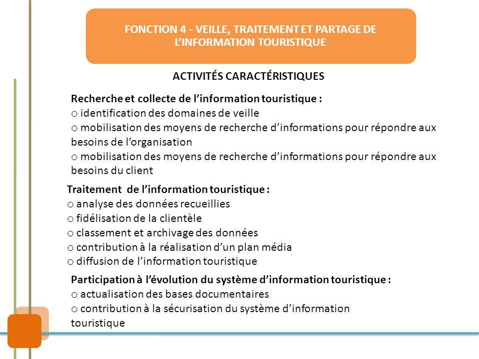 FONCTION 4 - VEILLE, TRAITEMENT ET PARTAGE DE L'INFORMATION TOURISTIQUE