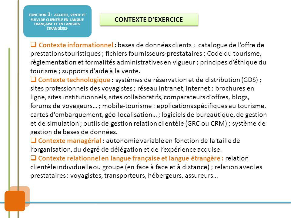 FONCTION 1 : ACCUEIL, VENTE ET SUIVI DE CLIENTÈLE EN LANGUE FRANÇAISE ET EN LANGUES ÉTRANGÈRES