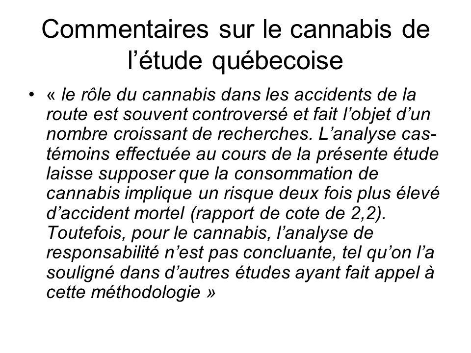 Commentaires sur le cannabis de l'étude québecoise