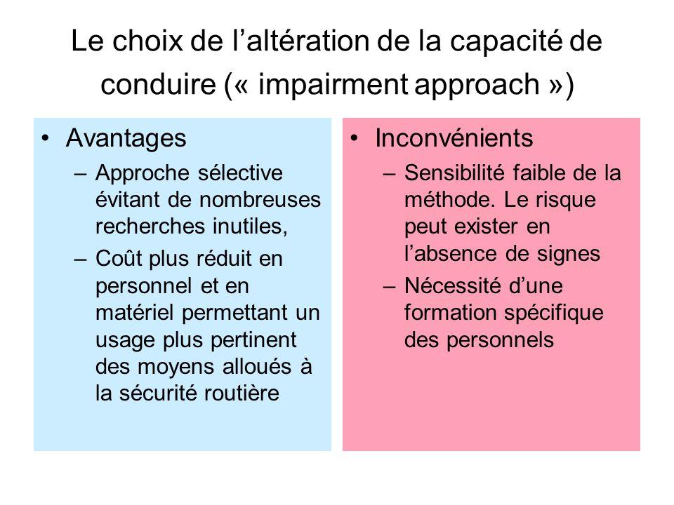 Le choix de l'altération de la capacité de conduire (« impairment approach »)